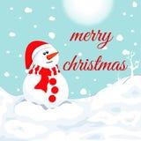 雪人在冬天 圣诞节标志 免版税图库摄影
