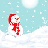 雪人在冬天 圣诞节标志 免版税库存图片