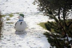 雪人在城市 免版税库存图片