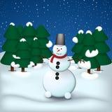 雪人在夜云杉森林里 皇族释放例证