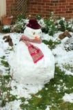 雪人在庭院里 图库摄影