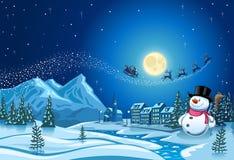 雪人在镇里和圣诞老人克劳斯2 库存照片