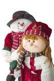 雪人夫妇被隔绝的圣诞节喜悦 免版税库存照片