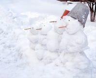 雪人家庭 免版税库存图片