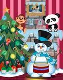 雪人演奏鼓的戴帽子和有圣诞树和火的一条蓝色围巾安置例证 免版税图库摄影