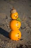 雪人由桔子做成 免版税库存照片