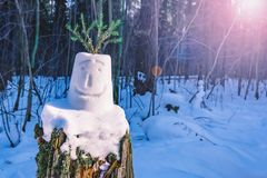 雪人的面孔,做由孩子 免版税库存照片