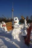 雪人示范 免版税图库摄影