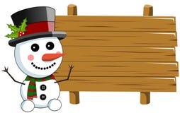 雪人空白的木标志 免版税库存图片