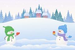 雪人背景 库存图片