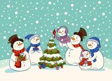 雪人节日晚会 免版税图库摄影