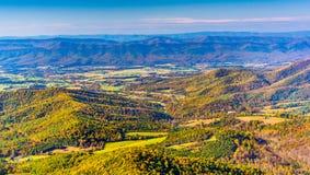 雪伦多亚河谷的秋天视图,从地平线驱动在沈 免版税图库摄影