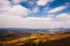 雪伦多亚河谷的秋天视图从地平线驱动的在Shenandoah国家公园 免版税库存照片