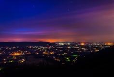 雪伦多亚河谷的长的曝光在晚上,从地平线博士 图库摄影