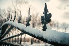 雪伪造门的细节 库存图片