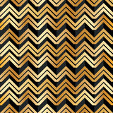 雪佛金黄黑条纹无缝的样式 免版税库存照片