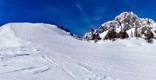 滑雪倾斜在库尔马耶乌尔 免版税库存图片