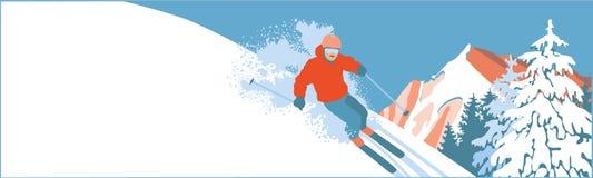 雪倾斜的滑雪者 免版税库存照片