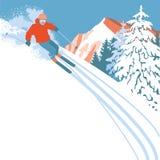 雪倾斜的滑雪者 库存图片