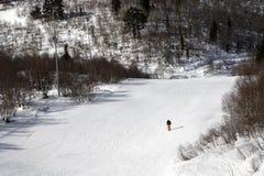 滑雪倾斜的滑雪者晴朗的冬日 图库摄影