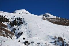 滑雪倾斜滑雪道,列斯Deux Alpes,法国 免版税库存照片