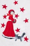 雪公主和猫在白色软的背景缝了与 免版税库存照片