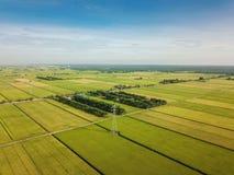 雪兰莪,马来西亚2017年11月15日:稻田鸟瞰图在Sungai Sireh,瓜拉雪兰莪的 图库摄影