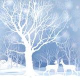 雪冬天与鹿的森林风景。冬天森林的抽象例证。 免版税图库摄影