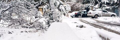 雪冬日,全景照片 免版税图库摄影