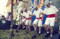 雪利酒,西班牙- 2013年9月10日:传统重踏葡萄 图库摄影