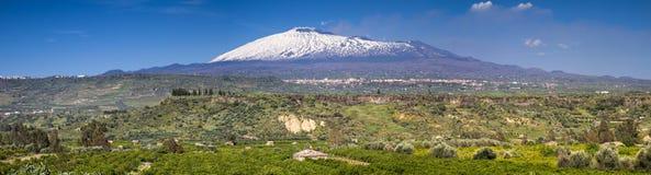 雪加盖的Etna的全景 库存照片