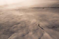 雪原的一个滑雪者在日落视图从上面 免版税库存照片