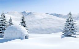 雪原的园屋顶的小屋与用雪盖的多雪的山和杉树,北极风景场面 库存照片