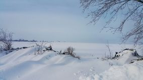 雪原 33c 1月横向俄国温度ural冬天 背景蓝色雪花白色冬天 用雪和透视报道的领域 在冬天囚禁 免版税库存照片