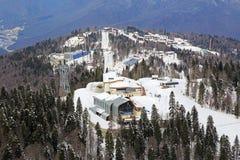 滑雪和两项竞赛复合体 免版税库存照片