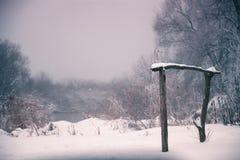 雪和冬天 村庄,乡下在冬天 库存图片