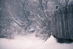 雪和冬天 村庄,乡下在冬天 免版税库存照片