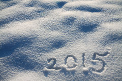 从雪和数字的新年的和圣诞节背景 库存照片