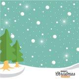 雪和绿色云杉的树例证 免版税库存照片