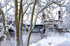 雪和钢桥梁 库存照片
