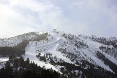 滑雪和雪板足迹,冬季体育倾斜,风景 免版税库存照片