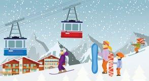 滑雪和雪板运动在山 免版税库存照片