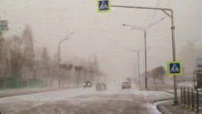 雪和风在城市在的房子背景的春天下午  股票视频