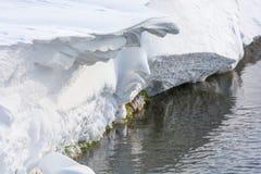 雪和风塑造了在小河的雕塑 图库摄影
