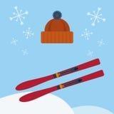 滑雪和贝雷帽 免版税库存图片