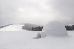 雪园屋顶的小屋 库存图片