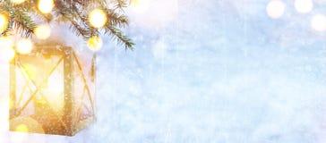 雪圣诞树和假日在蓝色冬天背景点燃 免版税库存图片