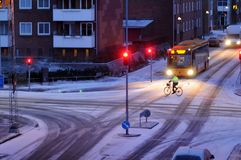雪在丹麦落 免版税图库摄影