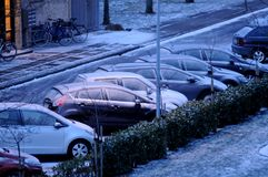 雪在丹麦落 免版税库存图片