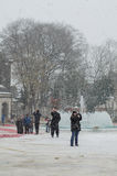雪在伊斯坦布尔 免版税库存图片